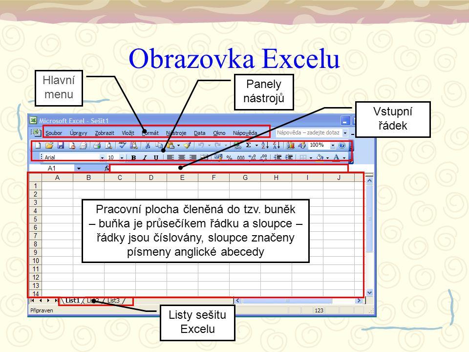 Obrazovka Excelu Pracovní plocha členěná do tzv. buněk – buňka je průsečíkem řádku a sloupce – řádky jsou číslovány, sloupce značeny písmeny anglické