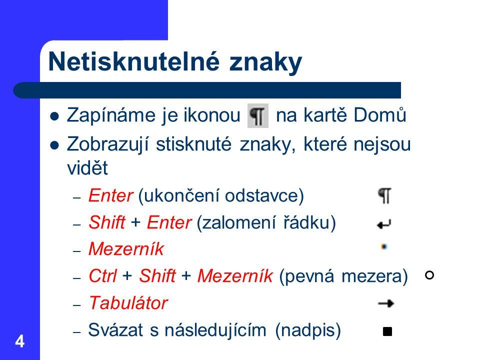 Netisknutelné znaky Zapínáme je ikonou na kartě Domů Zobrazují stisknuté znaky, které nejsou vidět – Enter (ukončení odstavce) – Shift + Enter (zalome
