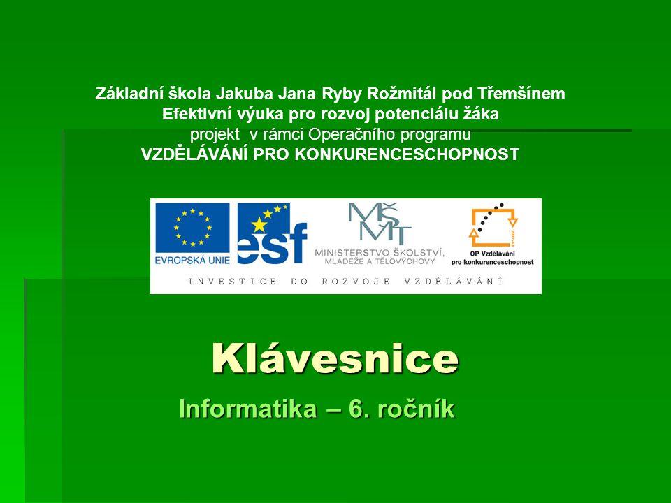 Klávesnice Informatika – 6.