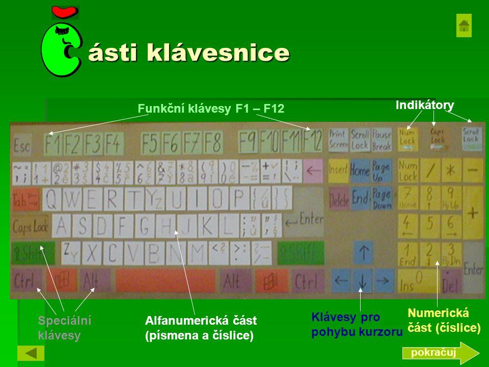 ásti klávesnice Klávesy pro pohybu kurzoru Numerická část (číslice) Alfanumerická část (písmena a číslice) Indikátory Funkční klávesy F1 – F12 pokračuj Speciální klávesy
