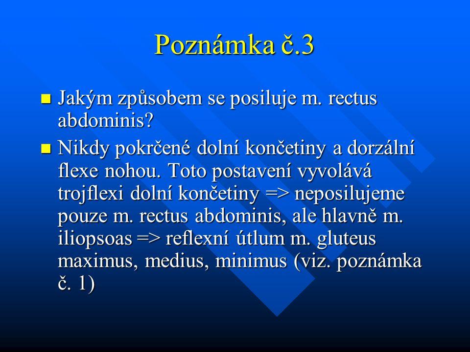 Poznámka č.3 Jakým způsobem se posiluje m. rectus abdominis? Jakým způsobem se posiluje m. rectus abdominis? Nikdy pokrčené dolní končetiny a dorzální