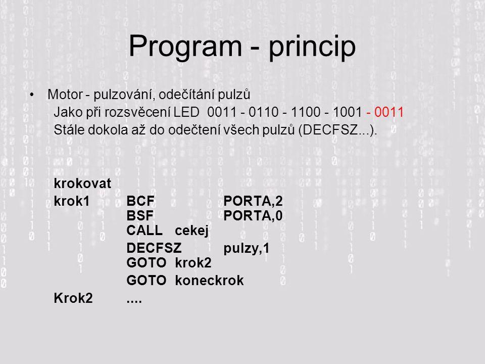Program - princip Motor - pulzování, odečítání pulzů Jako při rozsvěcení LED 0011 - 0110 - 1100 - 1001 - 0011 Stále dokola až do odečtení všech pulzů