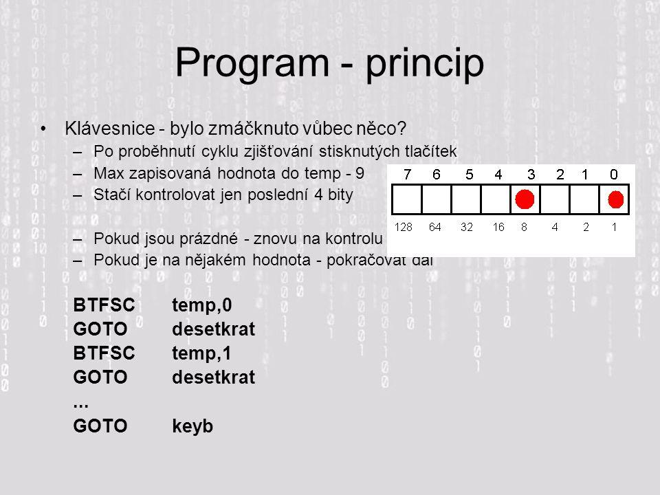Program - princip Klávesnice - bylo zmáčknuto vůbec něco? –Po proběhnutí cyklu zjišťování stisknutých tlačítek –Max zapisovaná hodnota do temp - 9 –St