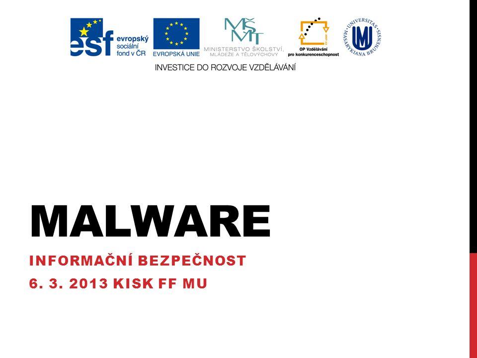 """VIRY První typ malwaru, dnes se téměř nevyskytují """"Historicky je počítačový virus program, který napadne spustitelný nebo přeložený (object) soubor. (Klander, s."""