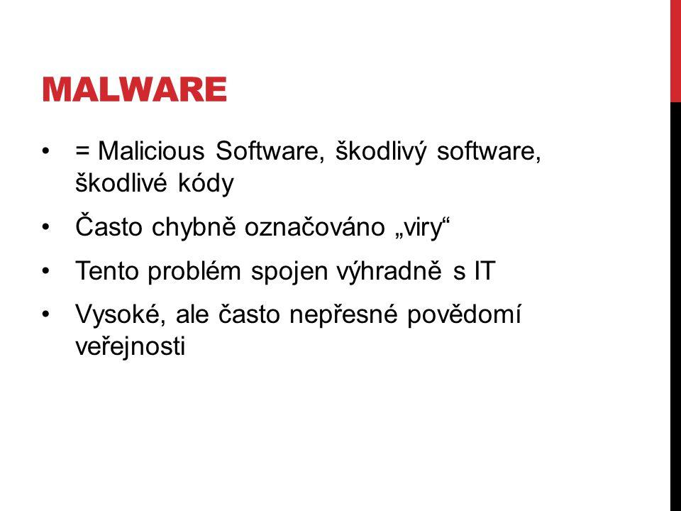 """MALWARE = Malicious Software, škodlivý software, škodlivé kódy Často chybně označováno """"viry Tento problém spojen výhradně s IT Vysoké, ale často nepřesné povědomí veřejnosti"""