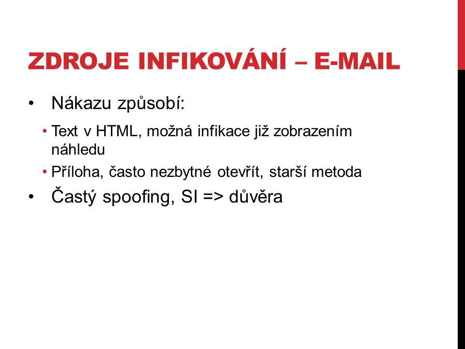 ZDROJE INFIKOVÁNÍ – E-MAIL Nákazu způsobí: Text v HTML, možná infikace již zobrazením náhledu Příloha, často nezbytné otevřít, starší metoda Častý spoofing, SI => důvěra