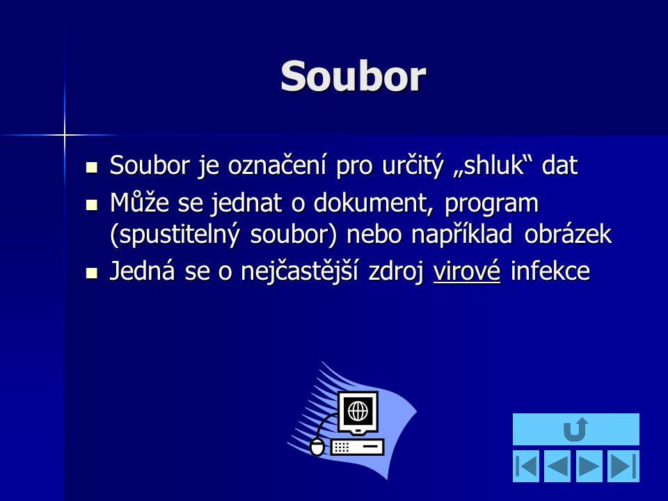 """Soubor Soubor je označení pro určitý """"shluk dat Soubor je označení pro určitý """"shluk dat Může se jednat o dokument, program (spustitelný soubor) nebo například obrázek Může se jednat o dokument, program (spustitelný soubor) nebo například obrázek Jedná se o nejčastější zdroj virové infekce Jedná se o nejčastější zdroj virové infekcevirové"""