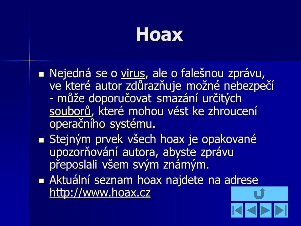 Hoax Nejedná se o virus, ale o falešnou zprávu, ve které autor zdůrazňuje možné nebezpečí - může doporučovat smazání určitých souborů, které mohou vést ke zhroucení operačního systému.