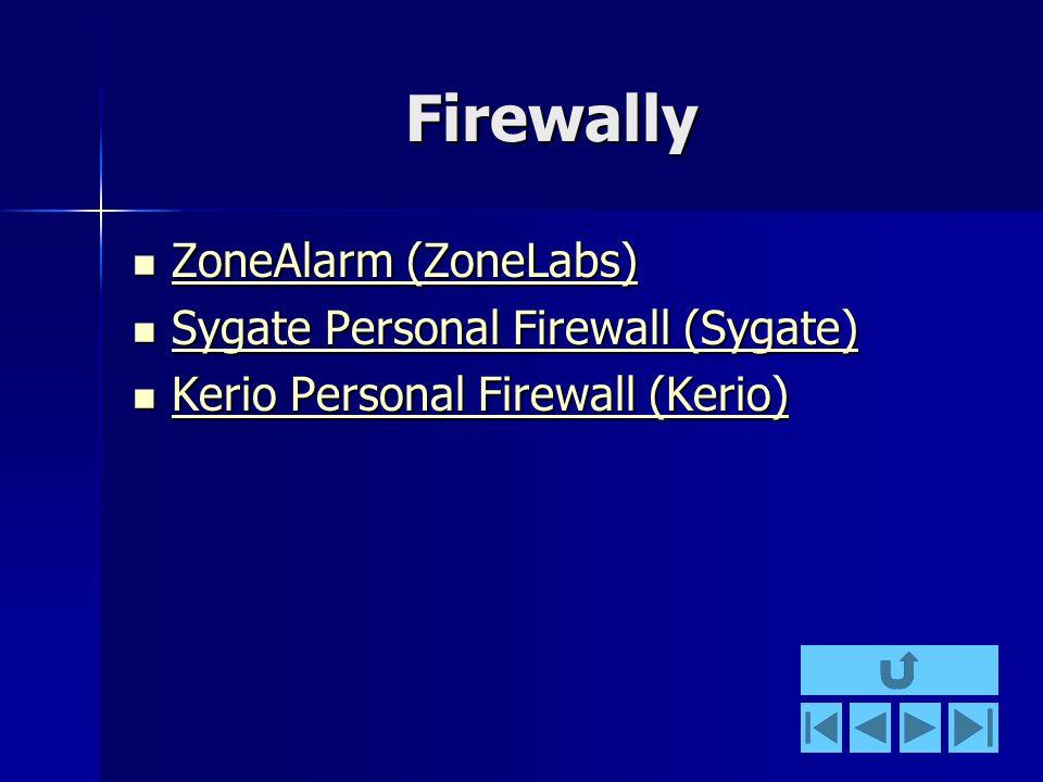 Firewally ZoneAlarm (ZoneLabs) ZoneAlarm (ZoneLabs) ZoneAlarm (ZoneLabs) ZoneAlarm (ZoneLabs) Sygate Personal Firewall (Sygate) Sygate Personal Firewall (Sygate) Sygate Personal Firewall (Sygate) Sygate Personal Firewall (Sygate) Kerio Personal Firewall (Kerio) Kerio Personal Firewall (Kerio) Kerio Personal Firewall (Kerio) Kerio Personal Firewall (Kerio)