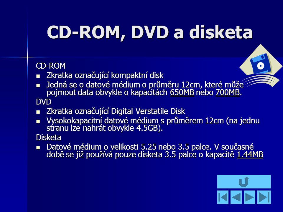 CD-ROM, DVD a disketa CD-ROM Zkratka označující kompaktní disk Zkratka označující kompaktní disk Jedná se o datové médium o průměru 12cm, které může pojmout data obvykle o kapacitách 650MB nebo 700MB.