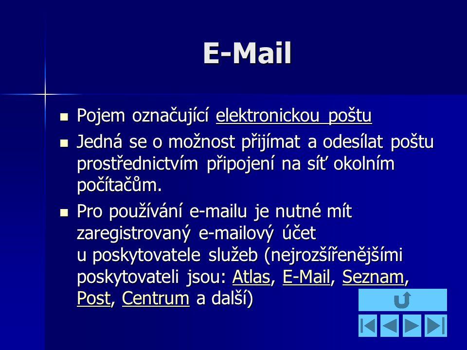 E-Mail Pojem označující elektronickou poštu Pojem označující elektronickou poštu Jedná se o možnost přijímat a odesílat poštu prostřednictvím připojení na síť okolním počítačům.