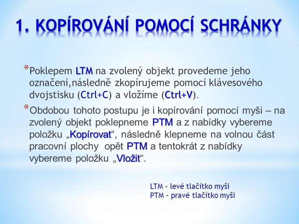 LTM Ctrl+V * Poklepem LTM na zvolený objekt provedeme jeho označení,následně zkopírujeme pomocí klávesového dvojstisku (Ctrl+C) a vložíme (Ctrl+V).