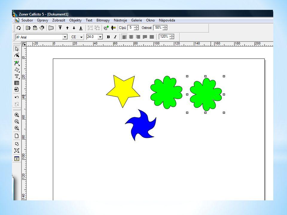 Více objektů označíme tak, že držíme stisknutou klávesu Shift a kliknutím levým tlačítkem myši označujeme postupně jednotlivé objekty.
