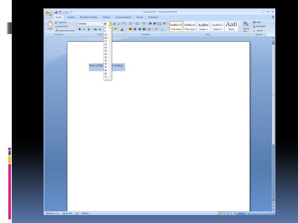 Klikni na roletu s tímto znakem: ▼ Roleta se rozvine a pak klikni na číslo 24 Pak klikni 1x na bílou plochu
