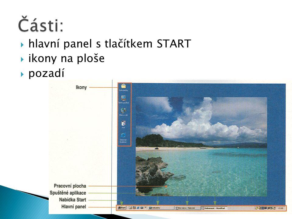  hlavní panel s tlačítkem START  ikony na ploše  pozadí
