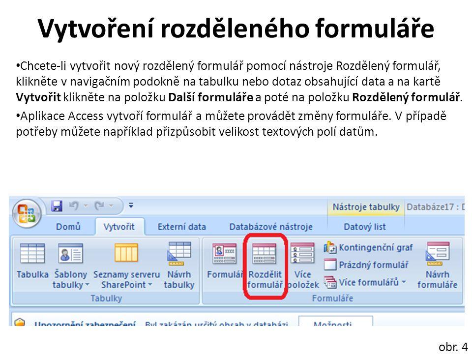Vzhled rozděleného formuláře obr.
