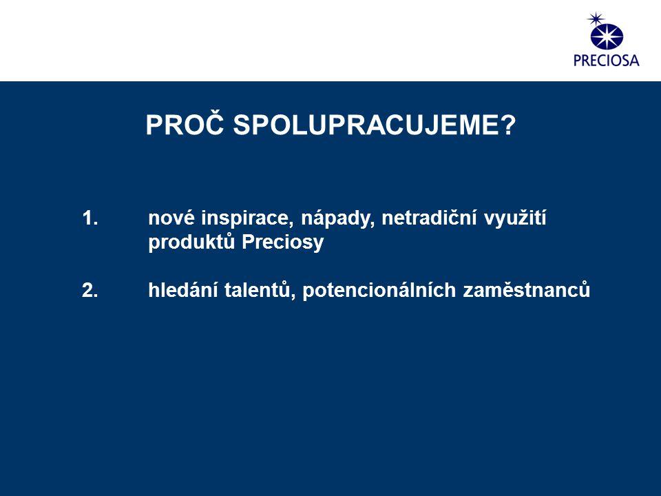 1. nové inspirace, nápady, netradiční využití produktů Preciosy 2. hledání talentů, potencionálních zaměstnanců PROČ SPOLUPRACUJEME?