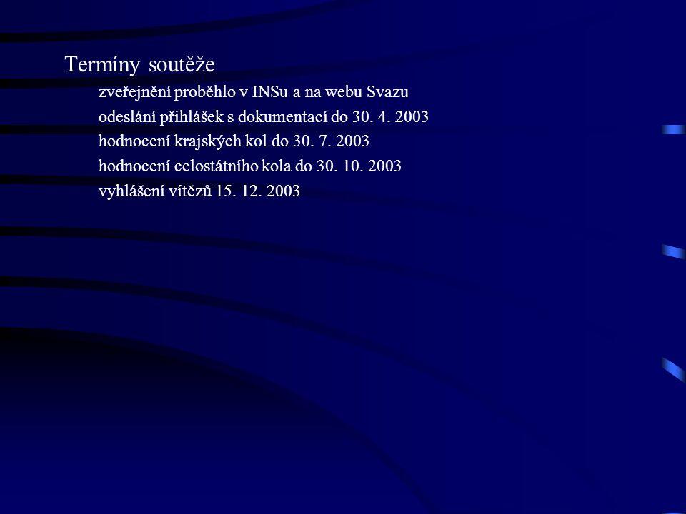Termíny soutěže zveřejnění proběhlo v INSu a na webu Svazu odeslání přihlášek s dokumentací do 30.