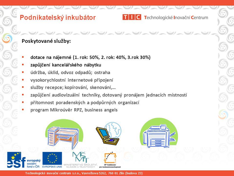 Technologické inovační centrum s.r.o., Vavrečkova 5262, 760 01 Zlín (budova 23) Podnikatelský inkubátor Poskytované služby:  dotace na nájemné (1.