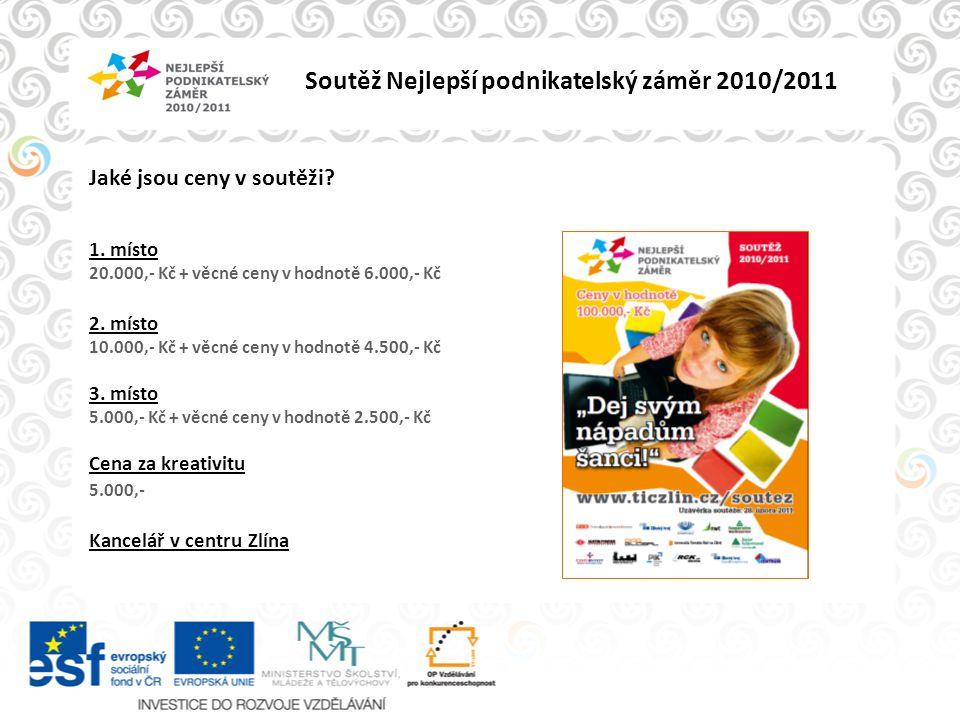Soutěž Nejlepší podnikatelský záměr 2010/2011 Jak se soutěže zúčastnit.