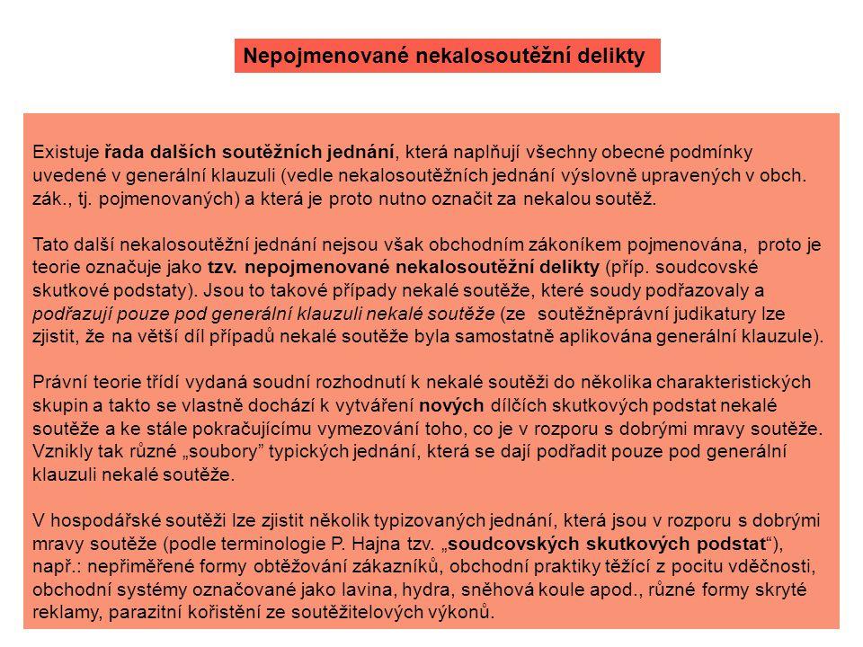 Nepojmenované nekalosoutěžní delikty Existuje řada dalších soutěžních jednání, která naplňují všechny obecné podmínky uvedené v generální klauzuli (ve