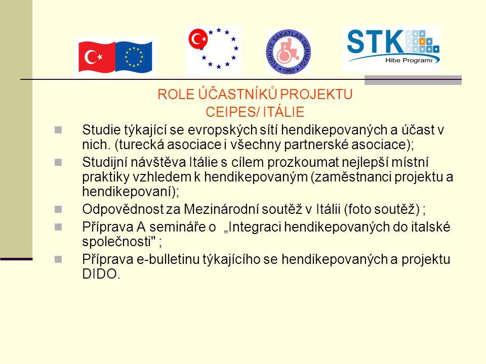 ROLE ÚČASTNÍKŮ PROJEKTU CEIPES/ ITÁLIE Studie týkající se evropských sítí hendikepovaných a účast v nich. (turecká asociace i všechny partnerské asoci