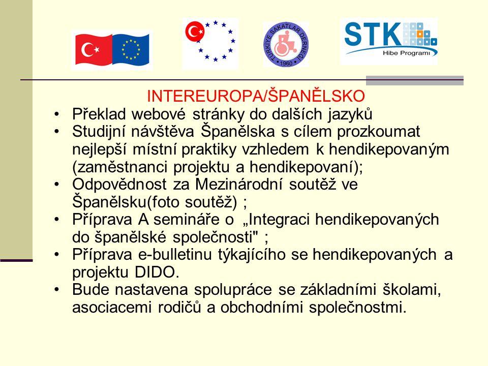 """INTEREUROPA/ŠPANĚLSKO Překlad webové stránky do dalších jazyků Studijní návštěva Španělska s cílem prozkoumat nejlepší místní praktiky vzhledem k hendikepovaným (zaměstnanci projektu a hendikepovaní); Odpovědnost za Mezinárodní soutěž ve Španělsku(foto soutěž) ; Příprava A semináře o """"Integraci hendikepovaných do španělské společnosti ; Příprava e-bulletinu týkajícího se hendikepovaných a projektu DIDO."""