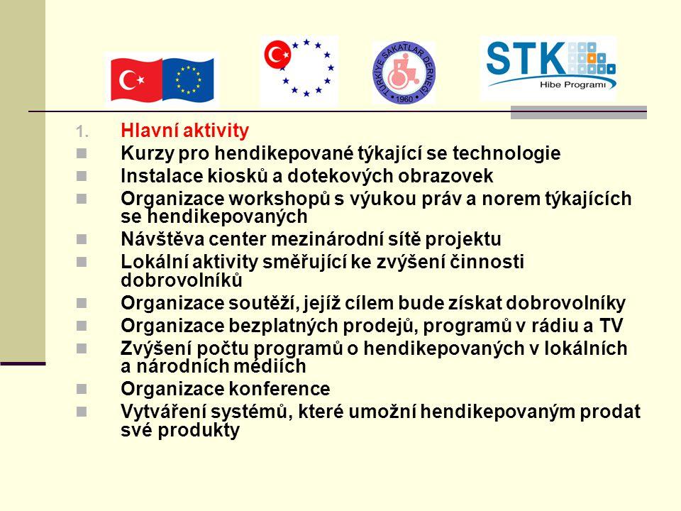1. Hlavní aktivity Kurzy pro hendikepované týkající se technologie Instalace kiosků a dotekových obrazovek Organizace workshopů s výukou práv a norem