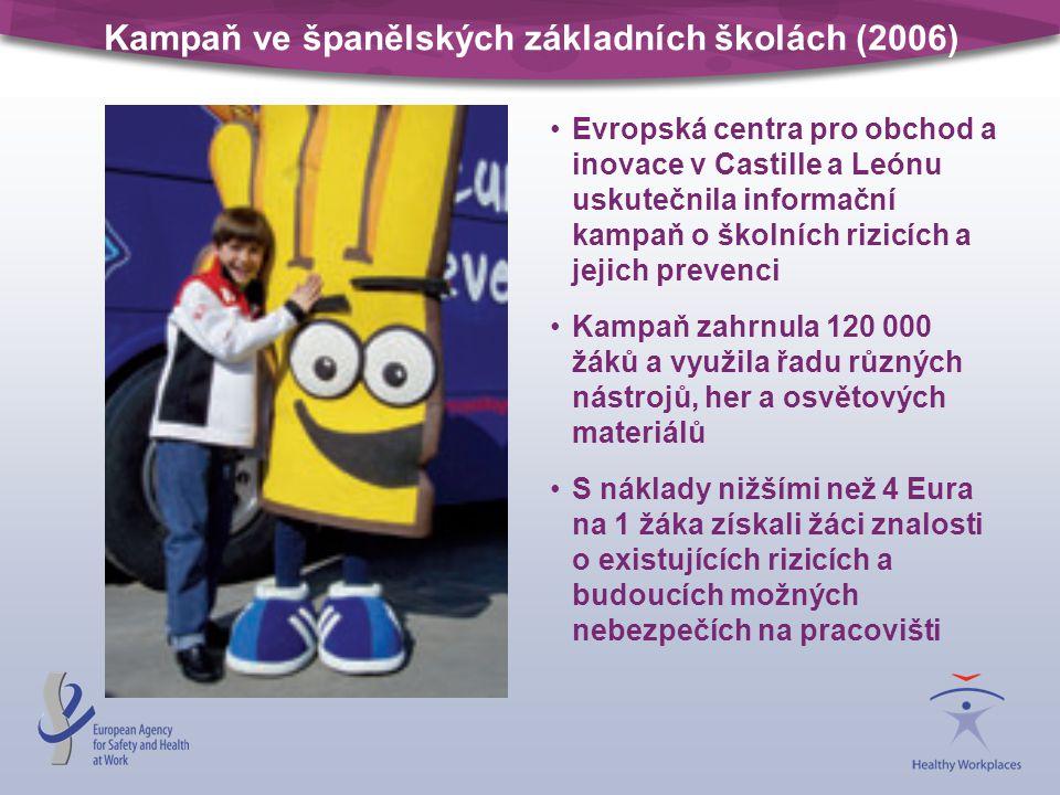 Kampaň ve španělských základních školách (2006) Evropská centra pro obchod a inovace v Castille a Leónu uskutečnila informační kampaň o školních rizic