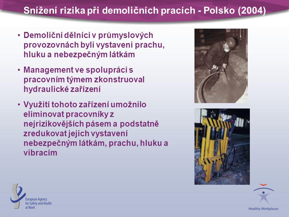 Snížení rizika při demoličních pracích - Polsko (2004) Demoliční dělníci v průmyslových provozovnách byli vystaveni prachu, hluku a nebezpečným látkám