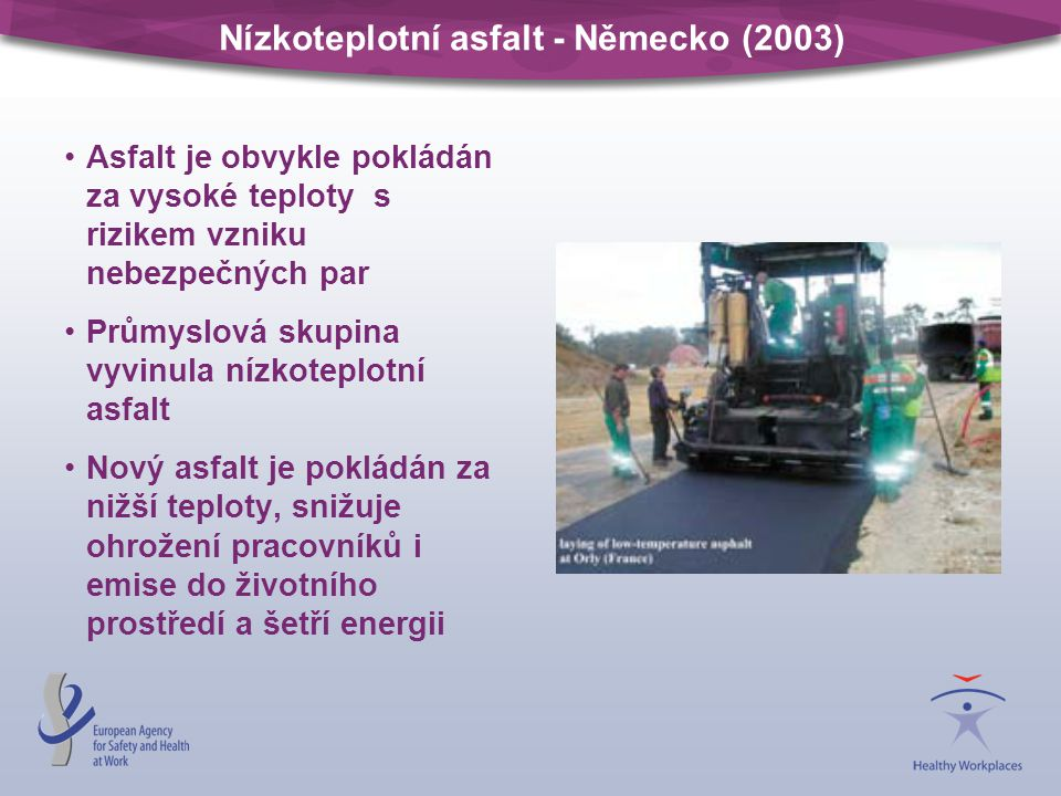 Nízkoteplotní asfalt - Německo (2003) Asfalt je obvykle pokládán za vysoké teploty s rizikem vzniku nebezpečných par Průmyslová skupina vyvinula nízko