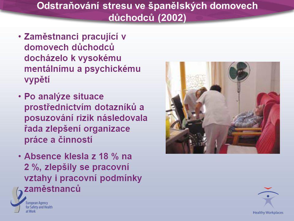 Odstraňování stresu ve španělských domovech důchodců (2002) Zaměstnanci pracující v domovech důchodců docházelo k vysokému mentálnímu a psychickému vy