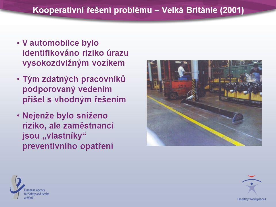 Kooperativní řešení problému – Velká Británie (2001) V automobilce bylo identifikováno riziko úrazu vysokozdvižným vozíkem Tým zdatných pracovníků pod