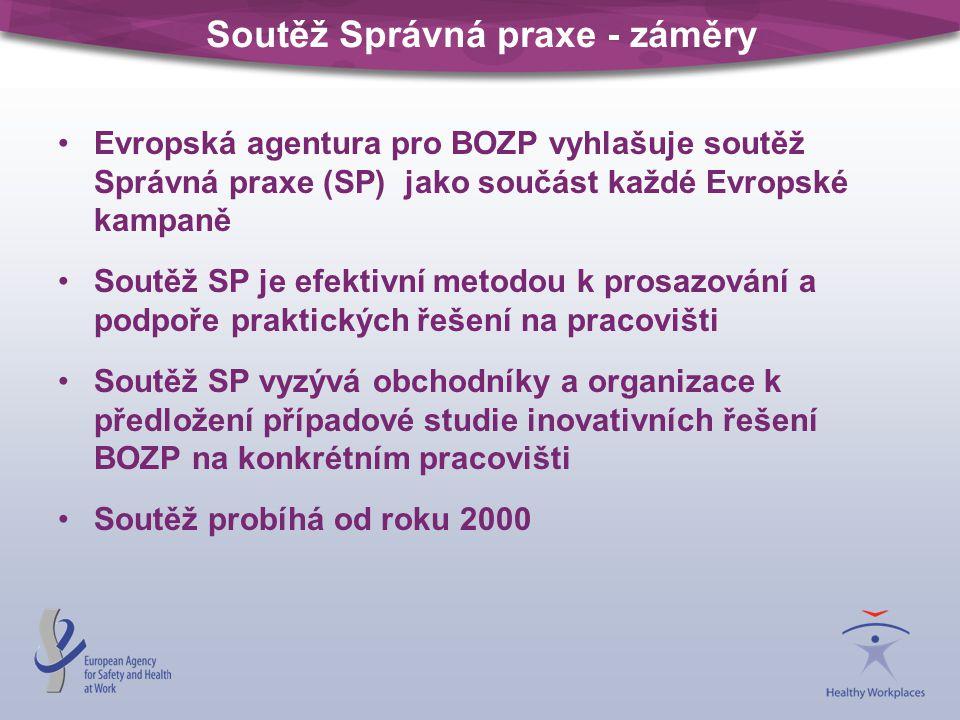 Soutěž Správná praxe - záměry Evropská agentura pro BOZP vyhlašuje soutěž Správná praxe (SP) jako součást každé Evropské kampaně Soutěž SP je efektivn