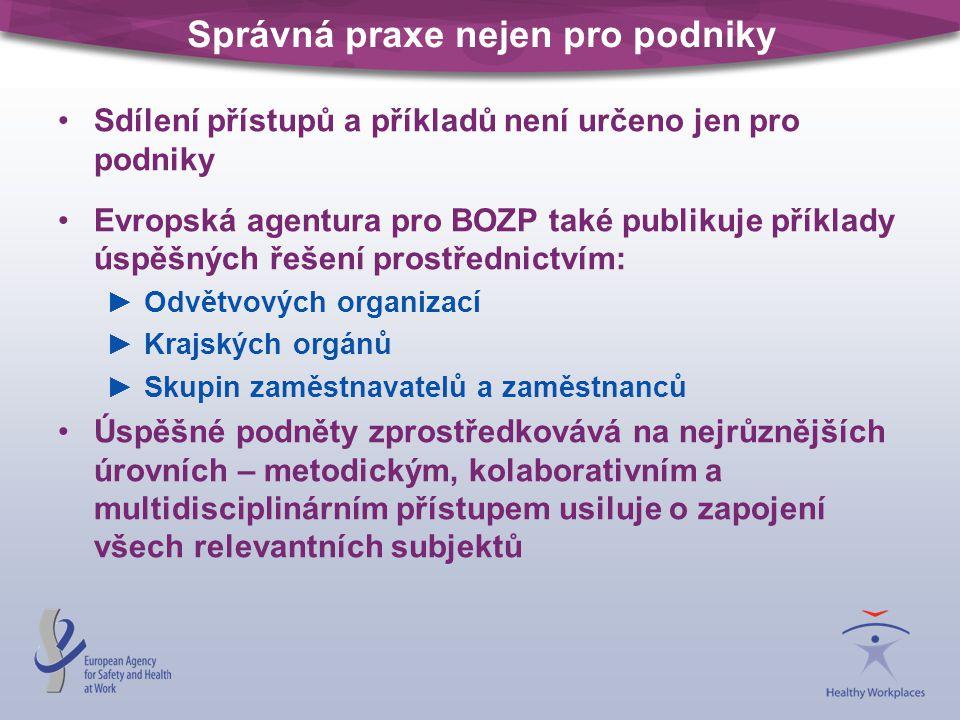 Správná praxe nejen pro podniky Sdílení přístupů a příkladů není určeno jen pro podniky Evropská agentura pro BOZP také publikuje příklady úspěšných ř