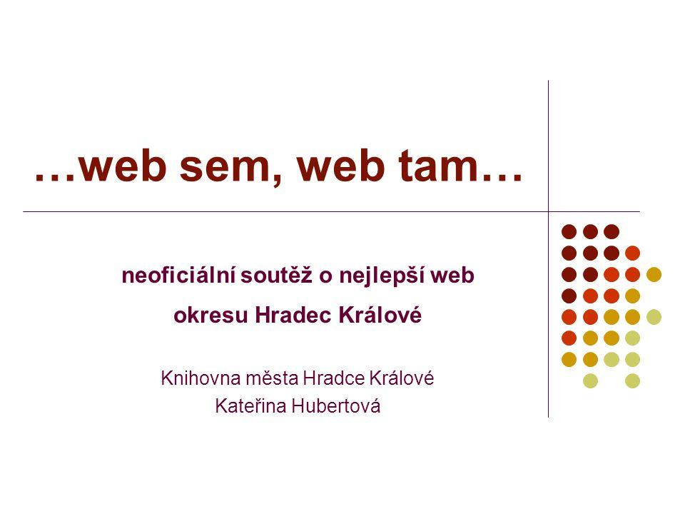 …web sem, web tam… neoficiální soutěž o nejlepší web okresu Hradec Králové Knihovna města Hradce Králové Kateřina Hubertová