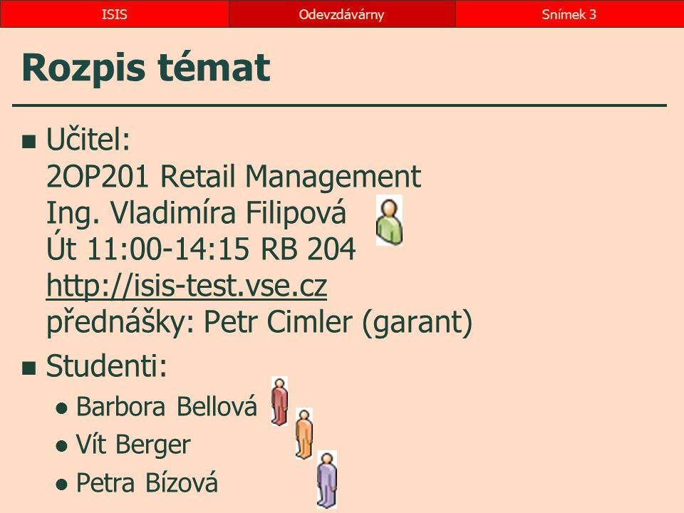 Rozpis témat Učitel: 2OP201 Retail Management Ing. Vladimíra Filipová Út 11:00-14:15 RB 204 http://isis-test.vse.cz přednášky: Petr Cimler (garant) ht