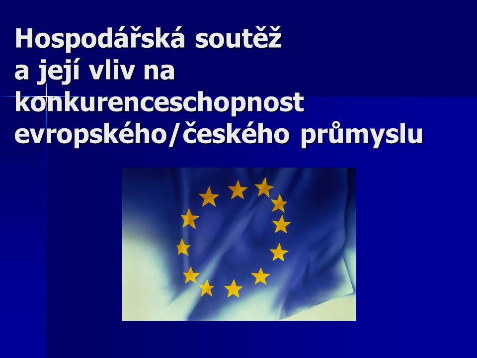 Hospodářská soutěž a chemický průmysl v EU 80léta – budování vnitřního trhu 80léta – budování vnitřního trhu –Základní záměr –Kompetence – EK Dnes – globální průmysl vs lokální podmínky (rozdíly v jednotlivých zemích – zásadní) Dnes – globální průmysl vs lokální podmínky (rozdíly v jednotlivých zemích – zásadní) –Pro podniky v EU - náklady, problém –Pro podniky v ČR – opomíjené dítě Výsledek dnes – z hlediska podniku – chaos (precedenty vs čas) Výsledek dnes – z hlediska podniku – chaos (precedenty vs čas)