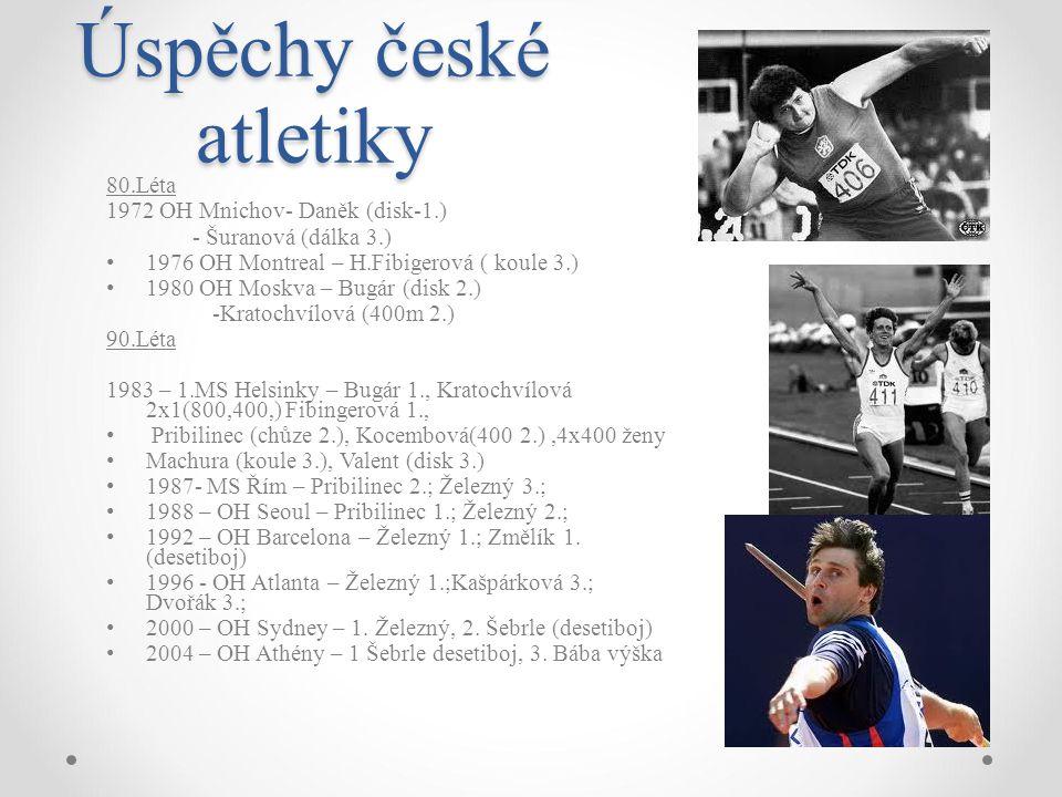 Úspěchy české atletiky 80.Léta 1972 OH Mnichov- Daněk (disk-1.) - Šuranová (dálka 3.) 1976 OH Montreal – H.Fibigerová ( koule 3.) 1980 OH Moskva – Bug