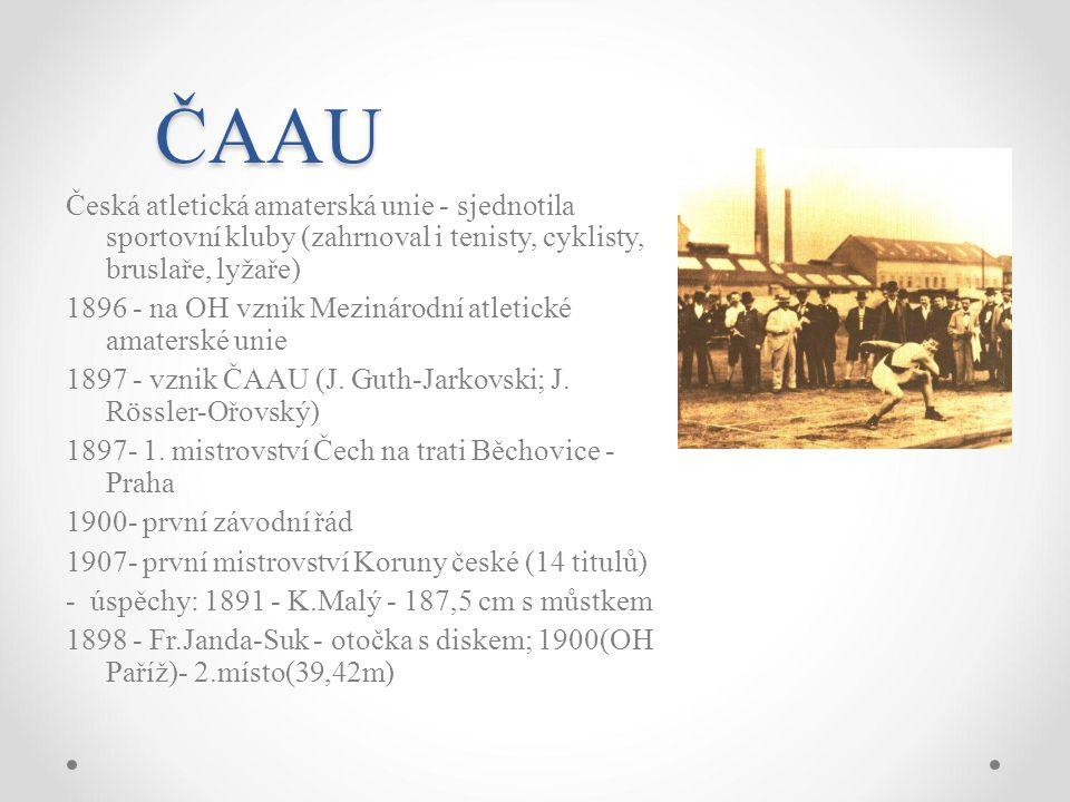 ČAAU Česká atletická amaterská unie - sjednotila sportovní kluby (zahrnoval i tenisty, cyklisty, bruslaře, lyžaře) 1896 - na OH vznik Mezinárodní atle
