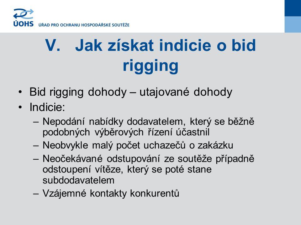 V.Jak získat indicie o bid rigging Bid rigging dohody – utajované dohody Indicie: –Nepodání nabídky dodavatelem, který se běžně podobných výběrových ř