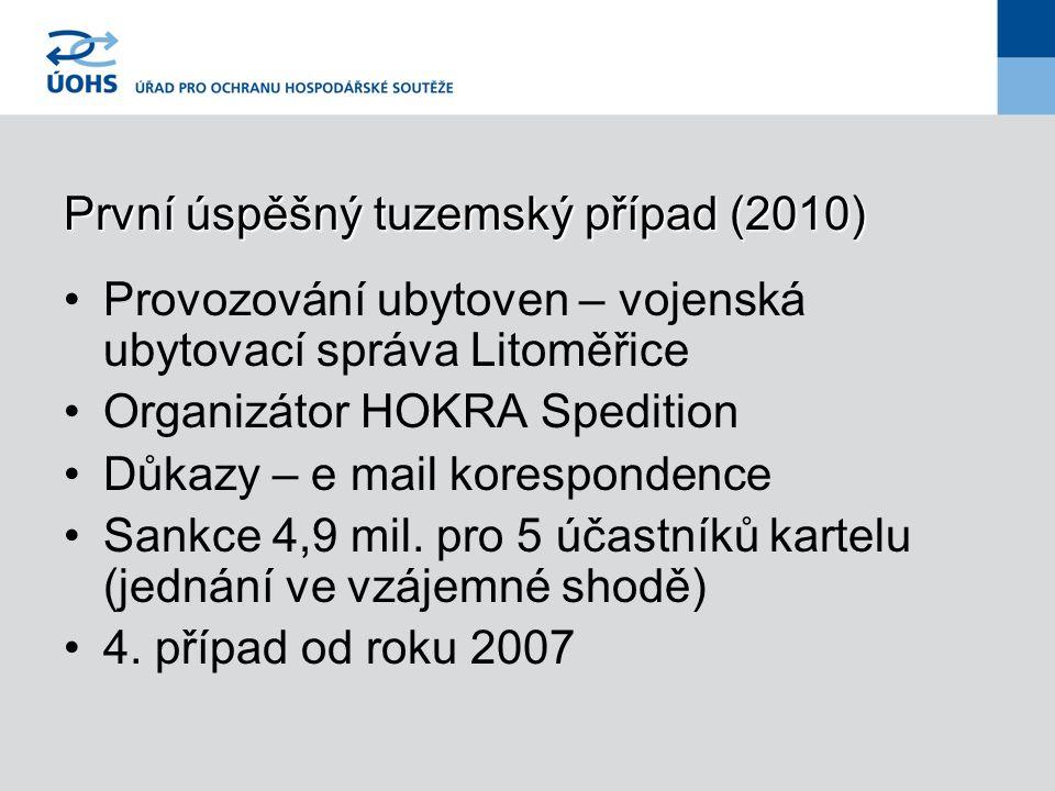 První úspěšný tuzemský případ (2010) Provozování ubytoven – vojenská ubytovací správa Litoměřice Organizátor HOKRA Spedition Důkazy – e mail korespond