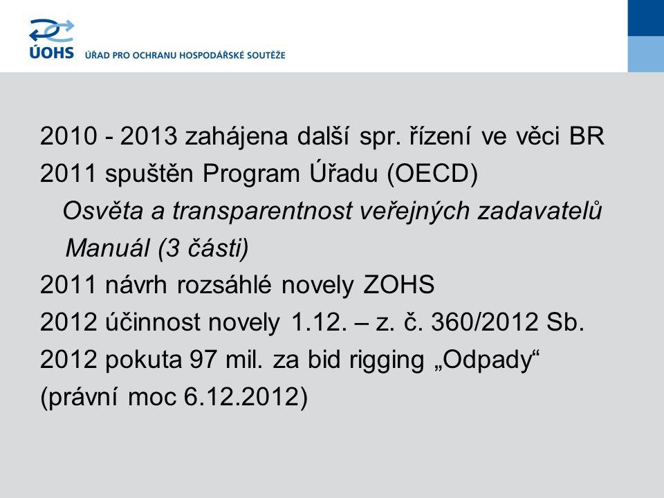 2010 - 2013 zahájena další spr. řízení ve věci BR 2011 spuštěn Program Úřadu (OECD) Osvěta a transparentnost veřejných zadavatelů Manuál (3 části) 201