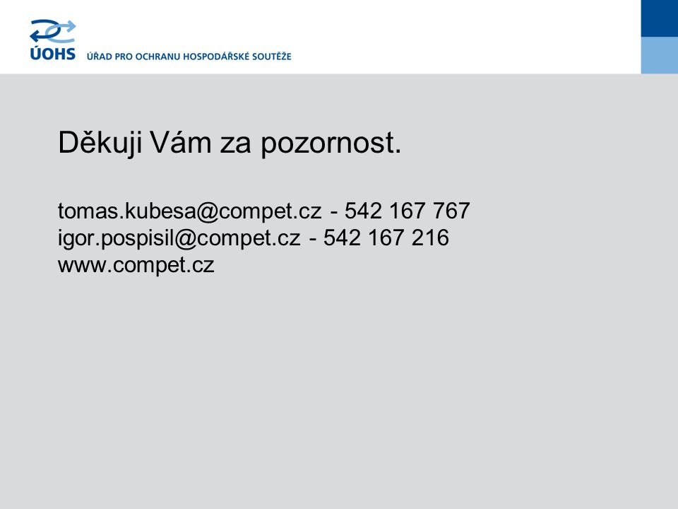 Děkuji Vám za pozornost. tomas.kubesa@compet.cz - 542 167 767 igor.pospisil@compet.cz - 542 167 216 www.compet.cz