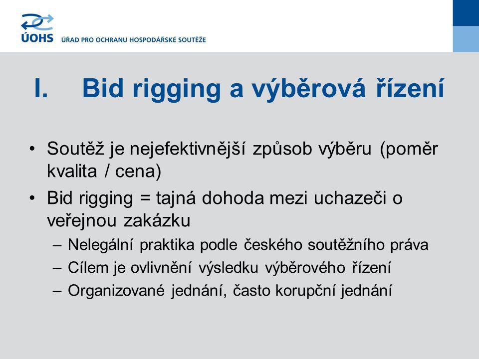 I.Bid rigging a výběrová řízení Soutěž je nejefektivnější způsob výběru (poměr kvalita / cena) Bid rigging = tajná dohoda mezi uchazeči o veřejnou zak