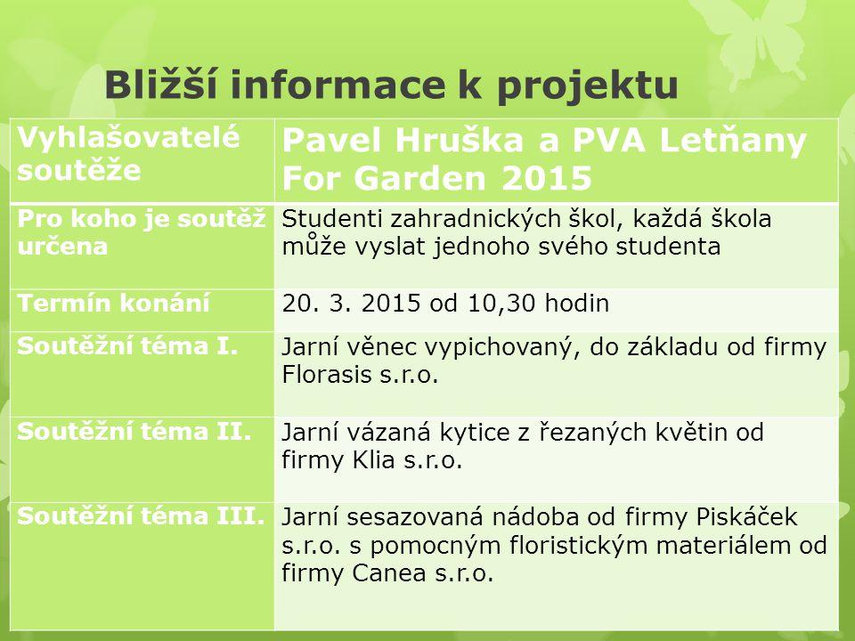 Bližší informace k projektu Vyhlašovatelé soutěže Pavel Hruška a PVA Letňany For Garden 2015 Pro koho je soutěž určena Studenti zahradnických škol, každá škola může vyslat jednoho svého studenta Termín konání20.