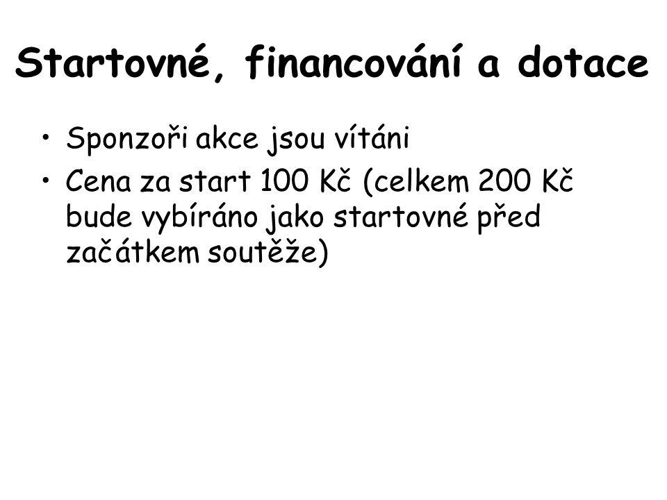 Startovné, financování a dotace Sponzoři akce jsou vítáni Cena za start 100 Kč (celkem 200 Kč bude vybíráno jako startovné před začátkem soutěže)