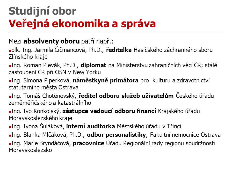 Studijní obor Veřejná ekonomika a správa Mezi absolventy oboru patří např.: plk.