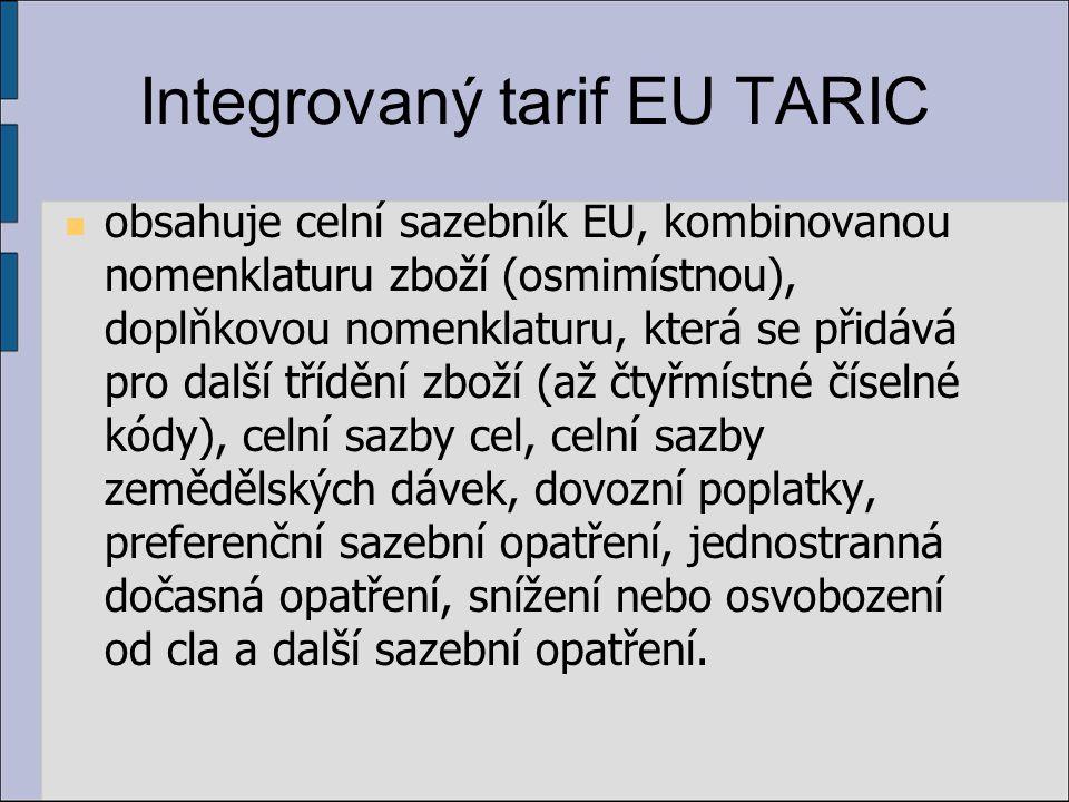 Integrovaný tarif EU TARIC obsahuje celní sazebník EU, kombinovanou nomenklaturu zboží (osmimístnou), doplňkovou nomenklaturu, která se přidává pro další třídění zboží (až čtyřmístné číselné kódy), celní sazby cel, celní sazby zemědělských dávek, dovozní poplatky, preferenční sazební opatření, jednostranná dočasná opatření, snížení nebo osvobození od cla a další sazební opatření.