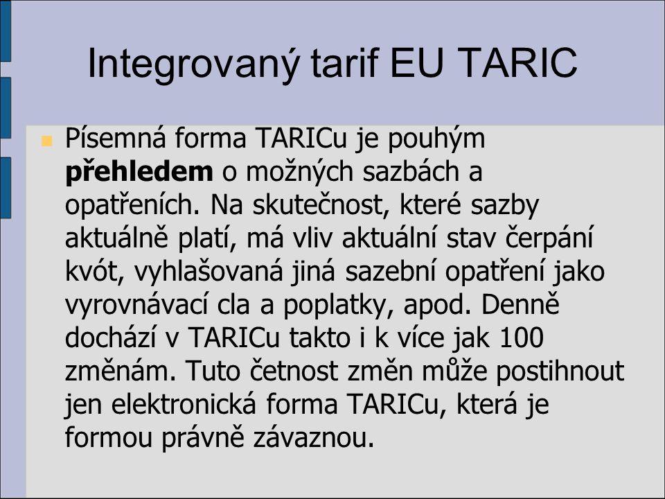 Integrovaný tarif EU TARIC Písemná forma TARICu je pouhým přehledem o možných sazbách a opatřeních.